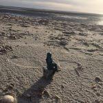 Till schaut aufs Meer am Strand von Föhr